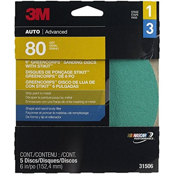 """3M 31506 Stikit Green Corps 6"""" 80D Grit Disc"""