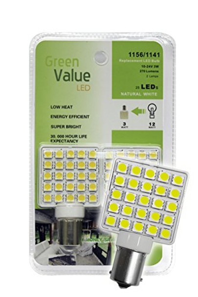 (1) 2 pk 1156/1141 Base LED Replacement Bulb 270 LUM 10-24v Natural White