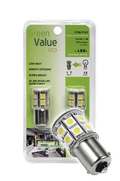 (1) 2 pk 1156/1141 Base LED Replacement Bulb 150 LUM 10-24v Natural White