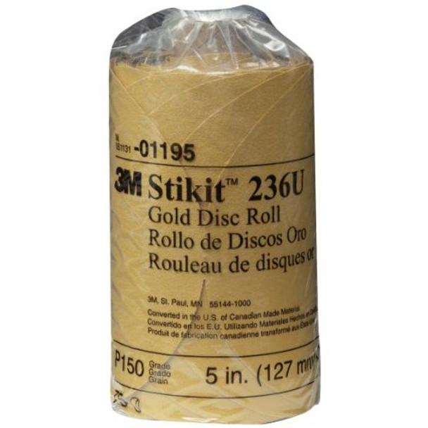 """3M 01195 Stikit Gold 5"""" P150A Grit Disc Roll"""