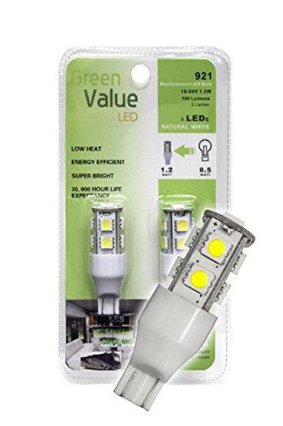 (1) 2 pk 921 Base LED Replacement Bulb 100 LUM 10-24v Natural White 15004V