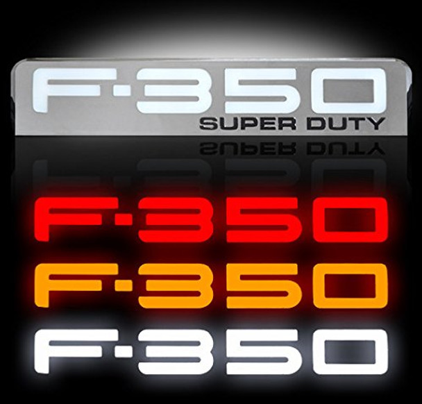 08-10 Ford F350 Illuminated Emblems 2-Piece Kit Includes Driver & Passenger Side Fender Emblems in Chrome