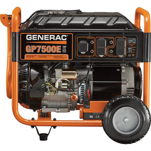 - Generac GP7500E Portable Generator - 9375 Surge Watts, 7500 Rated Watts, Electric Start, Model# 5943