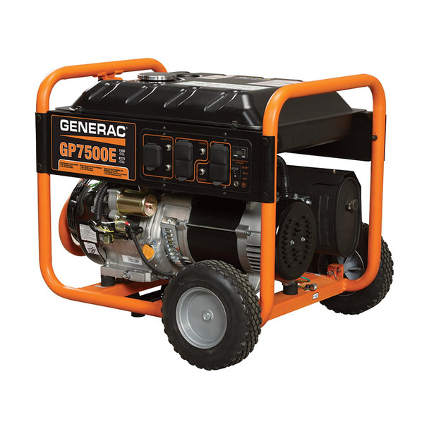 - Generac GP7500E Portable Generator - 9375 Surge Watts, 7500 Rated Watts, Electric Start, Model# 5943