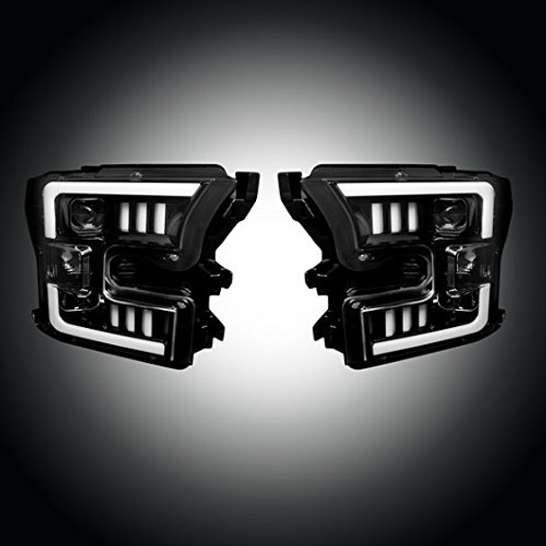 Recon 264290BKC Ford F150 15-17 (Replaces OEM Halogen Style Headlights Only) PROJECTOR HEADLIGHTS - Smoked / Black
