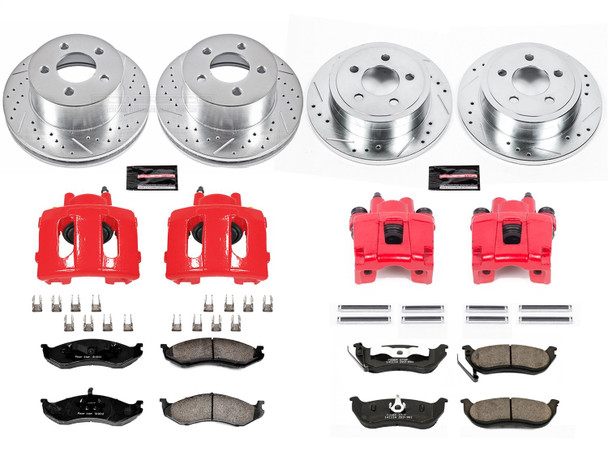 Power Stop KC2154 Z23 Evolution Sport 1-Click Brake Kit with Powder Coated Calipers (Brake Pads, Drilled/Slotted Rotors)