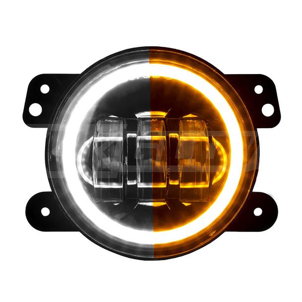 4in Fits Jeep Wrangler JK LED Fog Light 2pc Kit with Switchback Halo White DRL + Amber Turn Signal