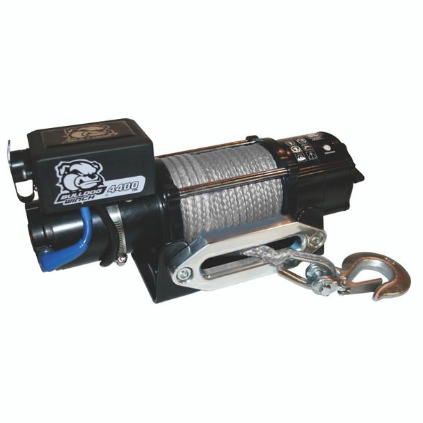 4,400 LB Trailer/Utility Winch 50 Ft Synthetic Rope Hawse Fairlead Mount Plate Bulldog Winch
