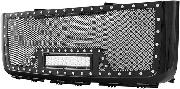 07-10 SIERRA 2500/3500HD EVO ALL BLACK SS WIRE MESH PACKAGED GRILLE W/ONE LED LI