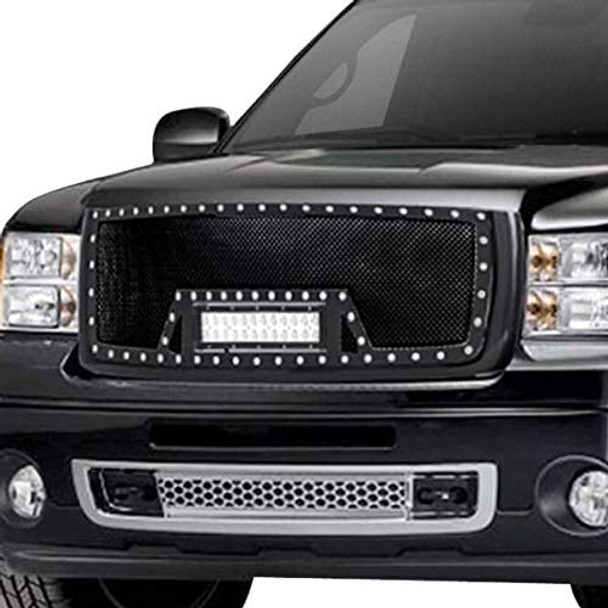 07-13 SIERRA 1500 ALL, EVO ALL BLACK SS WIRE MESH PACKAGED GRILLE W/ONE LED LIGH