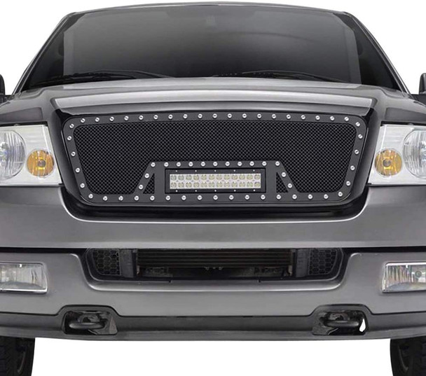 04-08 F-150 ALL, EVO BLACK SS WIRE MESH PACKAGED GRILLE W/ONE LED LIGHT