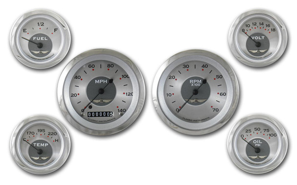 CLASSIC INSTRUMENTS Silver Face All American Gauge Kit P/N AW01SRC