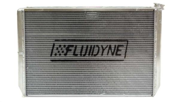 Fluidyne Performance Radiator Dbl Pass w/Oil Cooler & Fan 28in x 19in PN FRP20-SLM-CM
