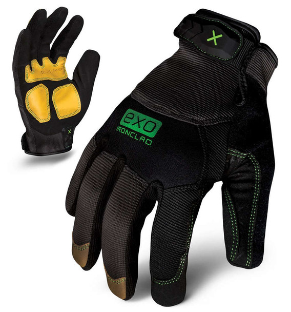 IRONCLAD Small Black EXO Leather Reinforcement Shop Gloves P/N EXO2-MLR-02-S