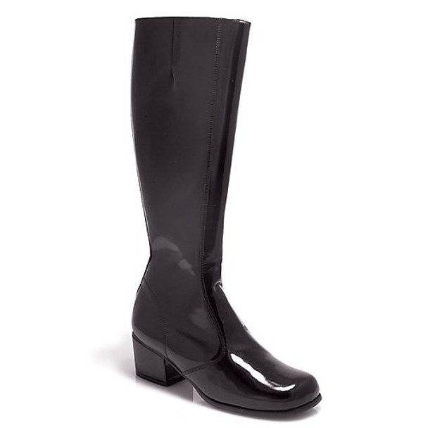 2.5 Inch Heel Knee-High Gogo Boots Women'S Size Shoe With No Stretch (Black;9)