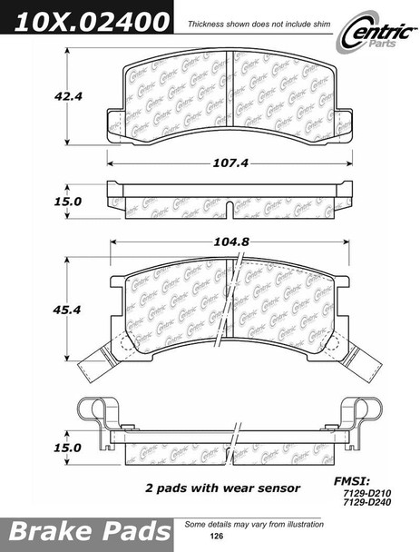 Centric Centric Parts 102.02400 102 Series Semi Metallic Standard Brake Pad 10202400