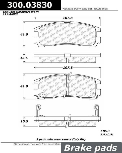 Centric Centric Parts 300.03830 Semi Metallic Brake Pad with Shim 30003830
