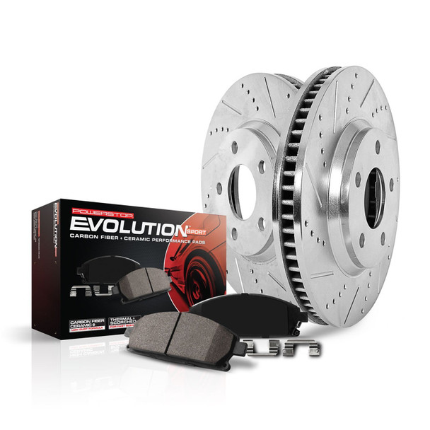Power Stop K1551 Front Ceramic Brake Pad and Cross Drilled/Slotted Combo Rotor