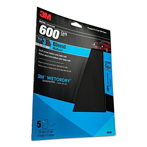 3M 32036 Imperial Wetordry 9x11-Inch P600 Grit Sheet, Pack of 5
