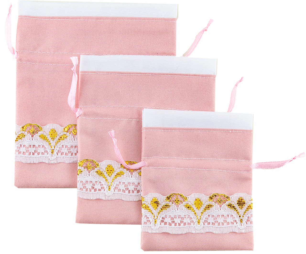 PCH-007 Drawstring Pouch: Pink/White & Gold Lace