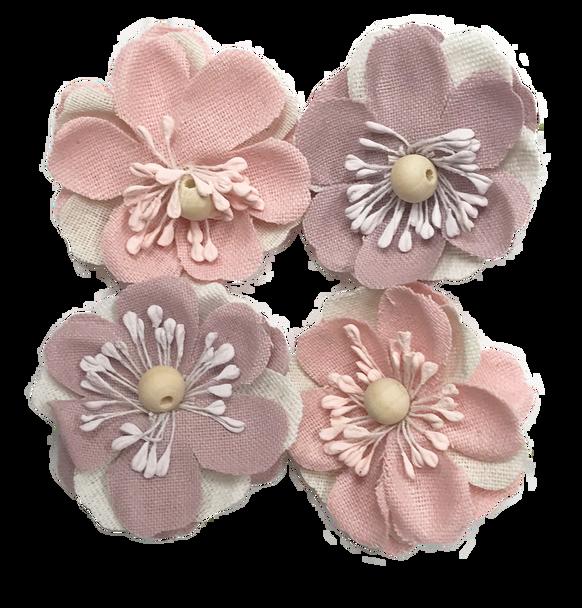 FLR-073 Canvas Flower Patch w/Wood Bead-Mauve & Pink