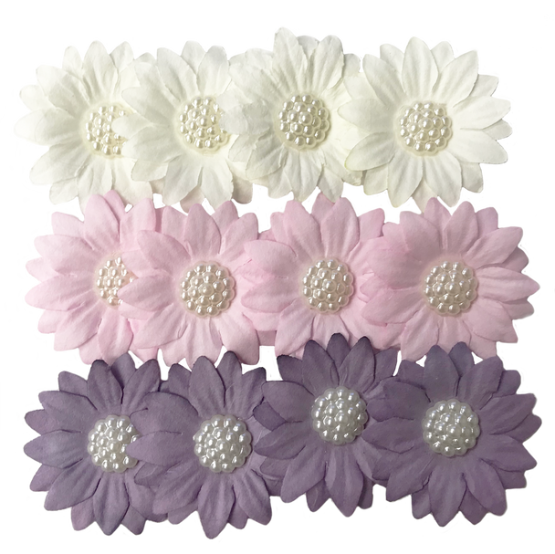 FLR-076 Paper Flower w/White Pearl-Purple/White/Pink