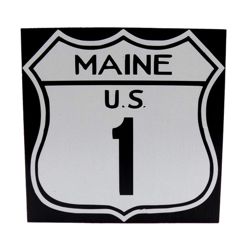 Desktop Maine US Rt. 1 Wooden Sign