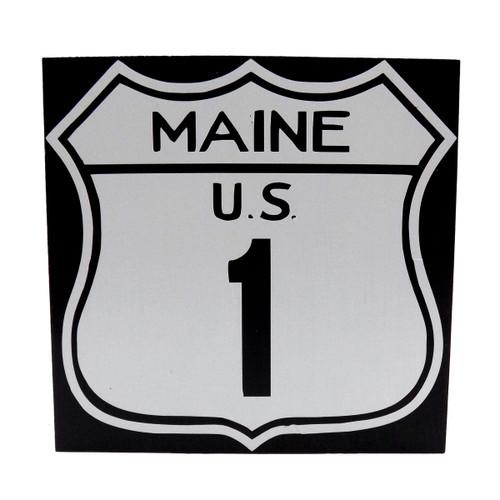 Desktop Maine US Rt. 1 Wooden Sign