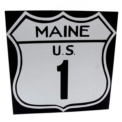 Large Maine US Rt 1 Wooden Sign