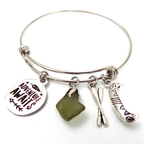Moosehead Lake Glass Bangle Bracelet