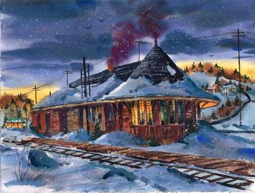 Depot at Night, 14 x 19