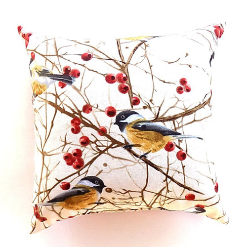 Chickadee, Balsam Fir Pillow, 7 inch