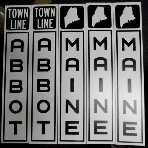 5 Letter or less, Town Line Wooden Sign