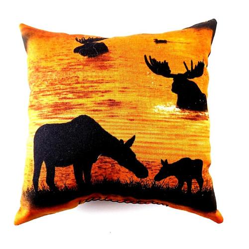 Golden Sunset Moose Balsam Fir Pillow, 5 inch