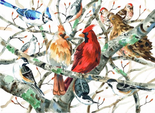 Two Cardinals and Winter Birds Print