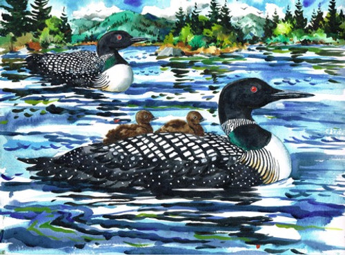 Loon with Chicks Print
