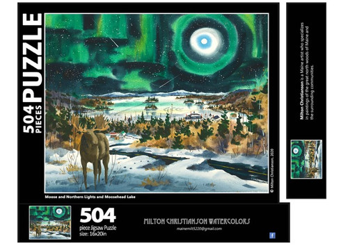 Moose and Northern Lights and Moosehead Lake Puzzle, 504 piece