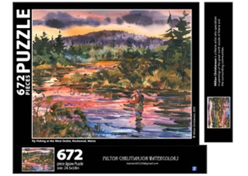 Fly Fishing at the West Outlet, Moosehead Lake Puzzle, 672 pieces