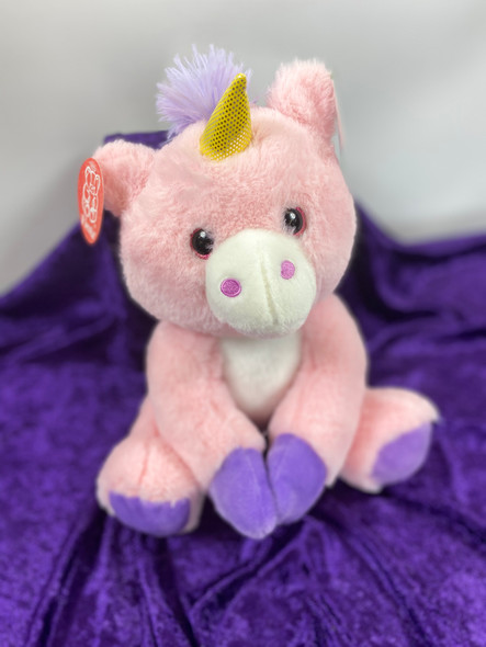 "10"" Plush Unicorn Pink/Purple trim"