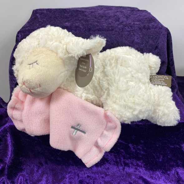 "11"" NOW I LAY ME DOWN LAMB W/PINK BLANKET"