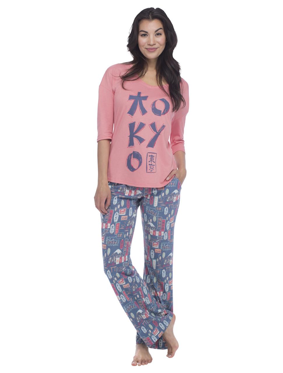 2e6563482 tokyo pajamas, tokyo pajama set, tshirt and pant pj set, womens pajamas, womens  pjs