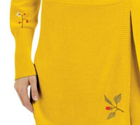 Birds Cashmere Wrap Sweater with Embroidery
