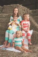 Kids Yellow Stripe Long John Pajama Set