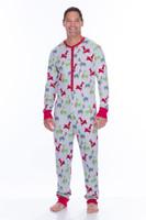 Light Gray Llamas Men's Thermal Long Sleeve Union Suit (M01759)