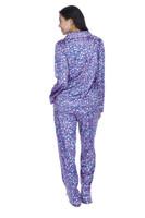 Flowers Women's Satin Long Sleeve Notch Collar Classic Set