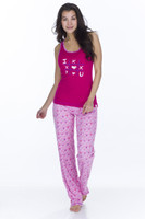 Candy Hearts Womens Rib Pant PJ Set