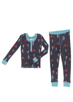 Retro Space Kids Long Sleeve Henley with Thumbholes and Long John PJ Set