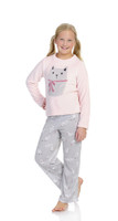 Large Kitten Youth FR Long Sleeve Plush Top and Pant PJ Set