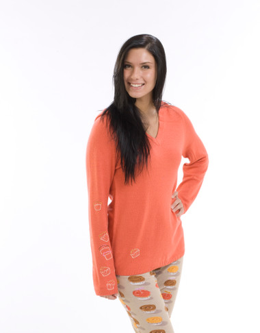 Cupcakes Cashmere Hooded Pullover with Embroidery