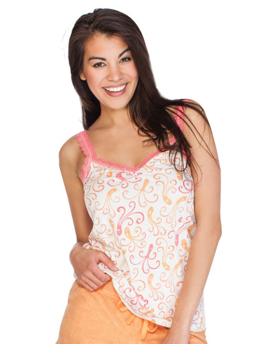 Octopus Jersey Lace Trim Rusched Tank